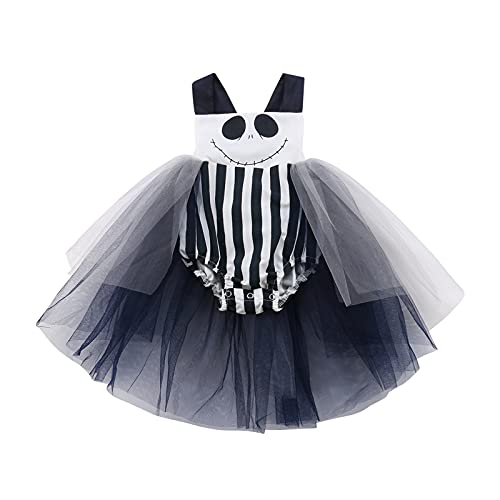 Geagodelia Body sin mangas para bebé, para Halloween, con lazo, tutú, para recién nacidos, para Halloween, 0 – 24 meses, negro blanco, 0-6 Meses
