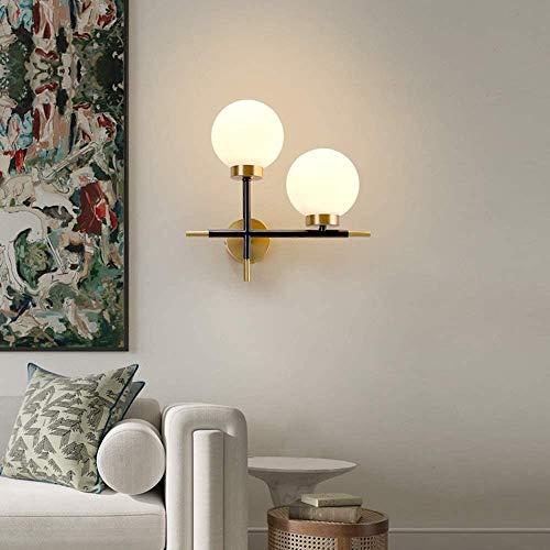 YUMUO Lámpara de pared minimalista de oro, moderna y creativa personalidad, para sala de estar, pared, cobre, dormitorio, lámpara de noche de cristal nórdico, 370 x 360 (tamaño: A)