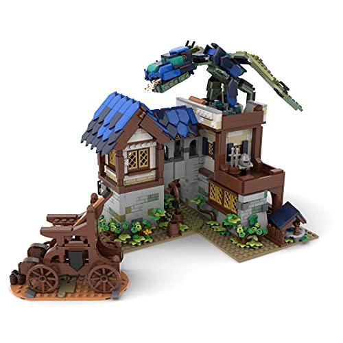 Myste Bloques de construcción modular de casa MOC-75365 de Gr33tje13, arquitectura medieval de dragón para edificios modulares, casas, modelo 1427, bloques de construcción compatibles con Lego 21325