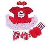 BabyPreg Bébés Filles Ma première Robe de Noël Père Noël Costume Party 4PCS...