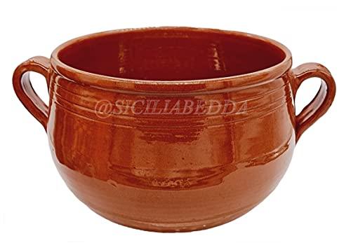 sicilia bedda - Couscoussiera Trapanese in Terracotta - Prodotto 100% Artigianale Come da Tradizione Trapanese - Diametro 18 Cm per 1 kg di Semola