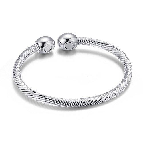 Elegant Magnetic Bracelet Copper Therapy Magnets Silver Bangle for Arthritis Pain for Women Men