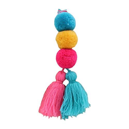 Nowbetter Llavero con pompón de borla con flecos, colgante de bola de pelo, llavero para bolsa de coche, adornos para mujeres y niñas, multicolor 4