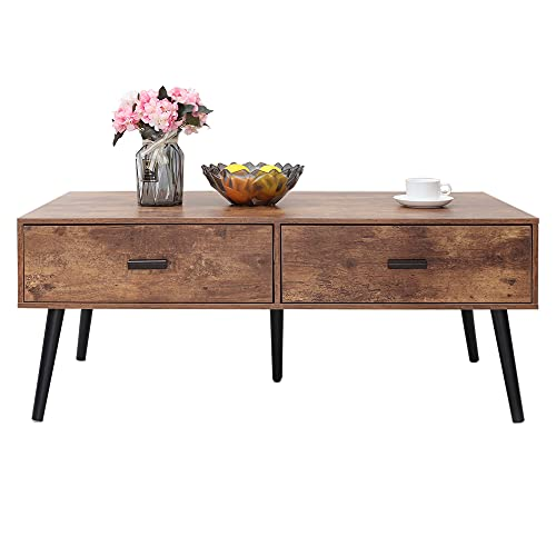 IWELL Coffee Table with 2 Drawers & 2 Open Shelves for Living Room, Mid Century Modern Coffee Table with Storage, Cocktail Table, Sofa Table, Office Table, Accent Table, Rustic Brown