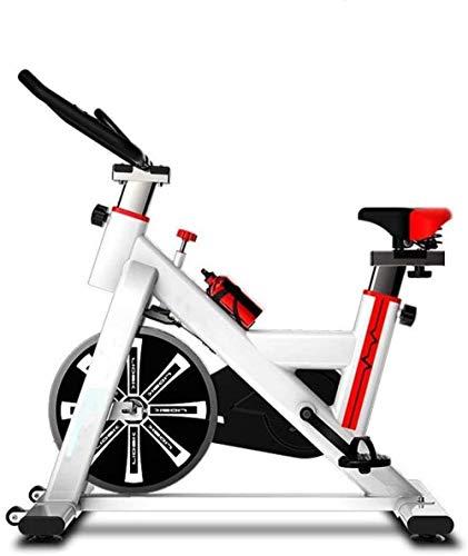 Bicicleta estática deportiva para el hogar, para interiores, equipo de fitness, pedales, bicicleta, aparato de entrenamiento, entrenamiento en casa, aeróbic, color blanco, 92-102 x 50 x 120 cm
