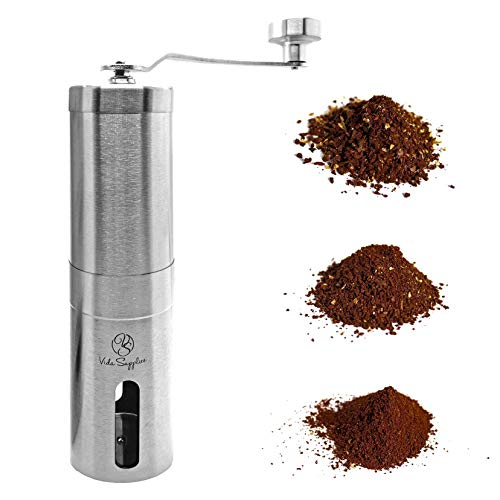 Manual Coffee Bean Grinder with Adjustable Setting - Conical Burr Coffee Grinder for Press French, Espresso, Turkish, Cold Brew - Brush Stainless Steel - Portable Coffee Grinder for Travel and camping