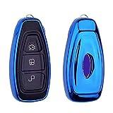 Heart Horse 3 Botón Control Remoto Funda para Llave Carcasa de TPU Suave para Mondeo Focus 3 MK3 ST Fiesta Ranger Kuga Escape Ecosport - Azul