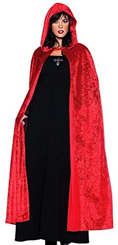 Rode mantel met capuchon - lang - volwassenen - chenille - fluweel - dracula - vampire - vermomming - nosferatu - halloween - carnaval - man - man - vrouw - cadeau-idee cosplay