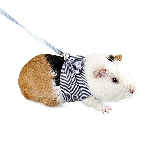 Small Pet Harness Soft Cotton Guinea Pig Bunny Harness and Leash Set for Guinea Pig Hamster Chinchilla Rabbit Squirrel Hedgehog Ferret Small Animals Walking Chest Strap Vest Harness with Lead Leash