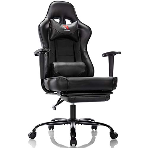RIMIKING Ergonomic Gaming Chair with Footrest - Adjustable Swivel Leather Racing Computer Desk Chair with Headrest and Lumbar Support Ergonomic Design for Women Men Black
