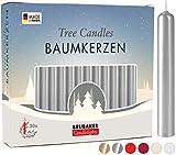 Brubaker 20er Pack Baumkerzen Wachs - Weihnachtskerzen Pyramidenkerzen Christbaumkerzen - Silber