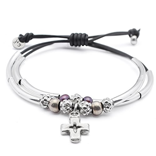 Lizzy James Faith 2 Strand Adjustable Black Leather Silver Plated Charm Bracelet w Silver Cross Charm