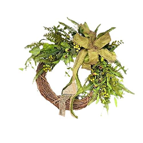 QKFON Guirnalda de vainas diarias, creativa y realista, para colgar en la puerta delantera, adorno rústico, anillo de ratán, colgante para día de Acción de Gracias, hogar, jardín, granja