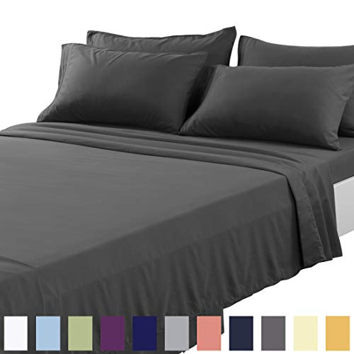 TEKAMON Queen Bed 6 Piece Sheet Set Cooling 100% Microfiber Polyester Extra Deep Pocket Fitted Sheet Luxury Soft,Breathable,Wrinkle and Fade Resistant Flat Sheet Dark Grey