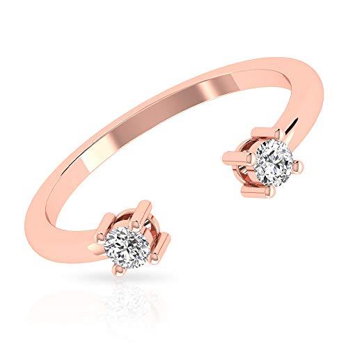 Natürlicher IGI zertifizierter Diamant Offener Manschettenring, IJ-SI Farbe Klarheit Diamant Verstellbare Eheringe, 14K Roségold, Size:EU 44
