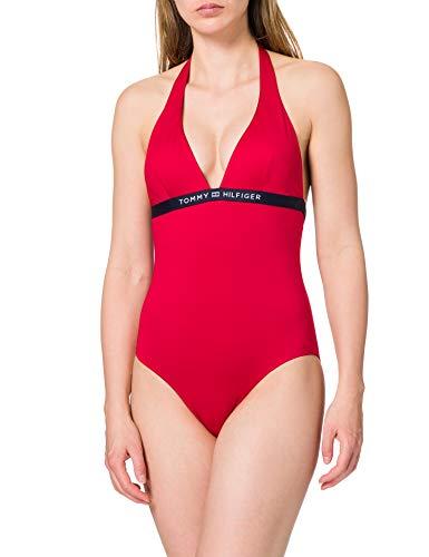 Tommy Hilfiger One-Piece Halter Parte Superiore del Bikini, Rosso primario, M Donna