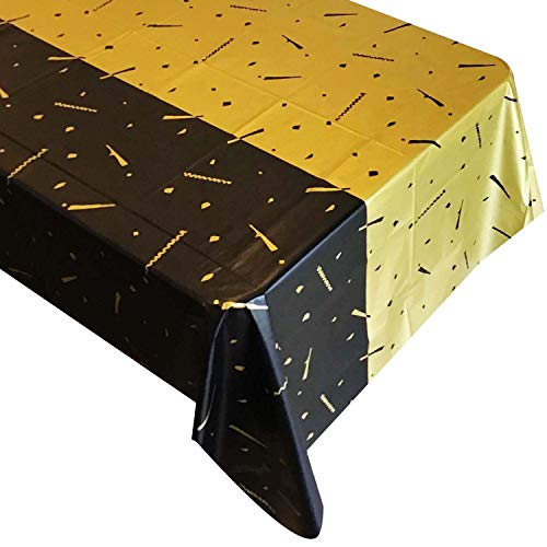 Black and Gold Plastic Tablecloth for Rectangle Tables, Party Table Cloths Disposable with Confetti Design for Parties and Events, 54 by 108 Inches, Pack of 4