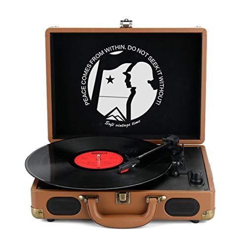 Xu-music Vintage platenspeler, 3-speed  draagbare vinyl LP-speler stereo luidspreker Aux Input/RCA Line Out Vinyl platenspeler