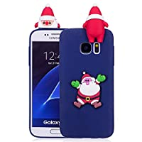 ケース Galaxy S7、薄型 かわいい 3D 漫画 クリスマス 新しい ユニコーン ケース、シリコン ソフトフレーム tpu カバー、ユニーク 人気 耐衝撃 弾性 軽量 薄型 衝撃吸収 全面保護カバー, 面白いユニークなラッキーギフト、子供、女の子、婦人のための,by Beautycatcher - 紺色+サンタクロース