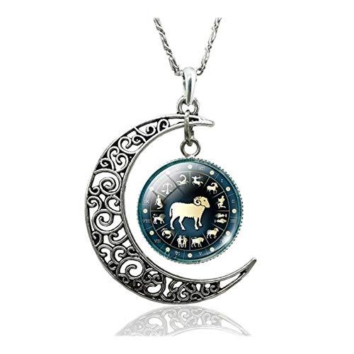 12 Signos del zodiaco constelaciones creciente de la luna colgante collar Astrología joyería del regalo del día de San Valentín regalo de cumpleaños for la novia Accesorios ( Metal Color : Aries )