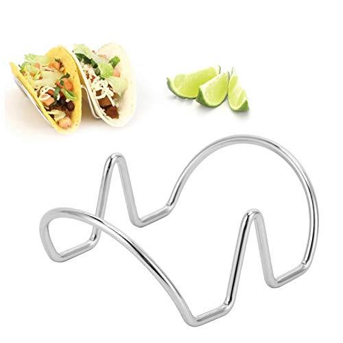 Soporte para tacos de acero inoxidable, soportes para tacos, soportes apilables, platos para tacos, bandeja para soporte para tacos, para sujetar tacos de cáscara blanda y dura(S)