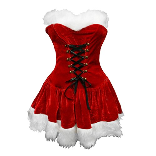 Bslingerie Red Christmas Santa Mrs. Claus Women Full Costume Outfit (S, Red)