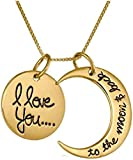 Promotech Colgante 'I Love You to The Moon & Back (3 cm de diámetro) con cadena de 40 cm para niñas y mujeres.