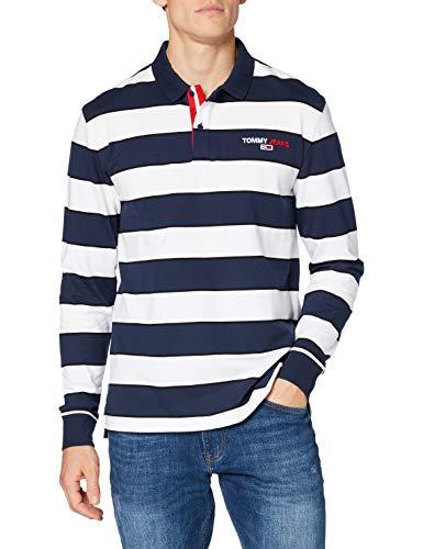 Tommy Hilfiger TJM Longsleeve Stripe Polo Camisa, Twilight Navy/Multi, M para Hombre