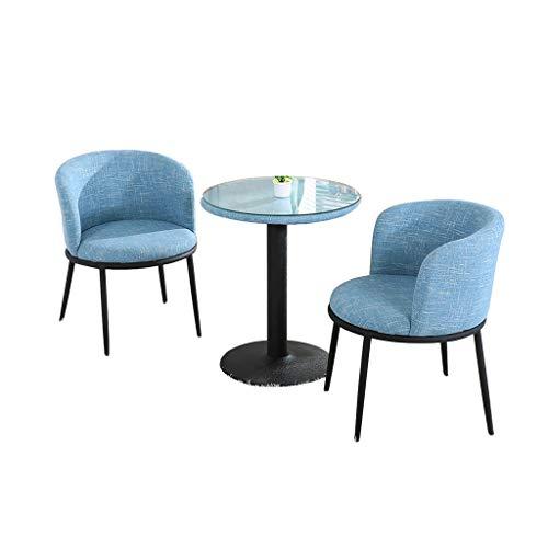Silla combinada Silla de La Sala de Estar,Tela Negociación Hotel Reunión Dormitorio Balcón Mesas y Sillas Conjunto de 3 Piezas Combinación (Color : Blue)