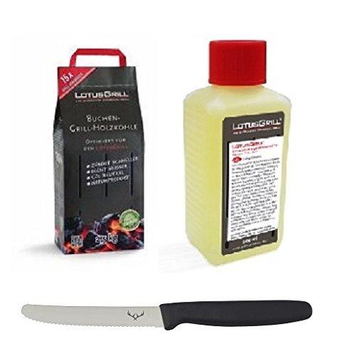 LotusGrill Buchenholzkohle 2,5 kg Sack und LotusGrill Brennpaste 200 ml, beides entwickelt für raucharmes Grillen mit dem LotusGrill, inkl. Edelwild-Allzweckmesser
