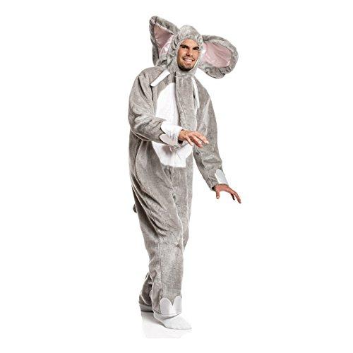 Kostümplanet® Elefanten-Kostüm Herren Elefant grau witziges Faschings-Kostüm Größe 48/50