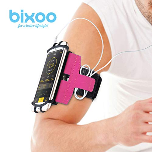 Armband for Running Workout for iPhone X 7/7 Plus 8/8Plus 6/6S Plus, Galaxy S8/S9 S7 Edge Note 8 Google Pixel 180° Rotatable Cell Phone Holder Great for Hiking Biking Walking by BIXOO (Pink)