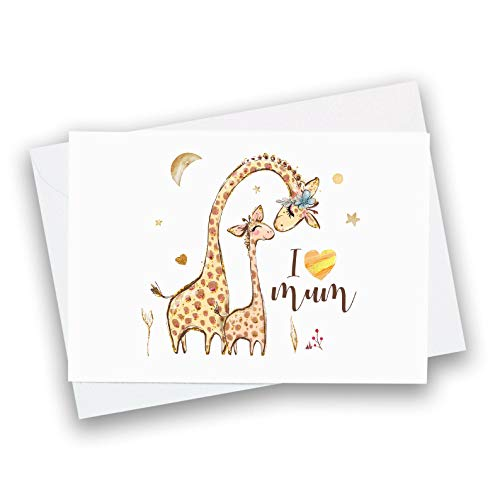I love you mum card/Cute Mother's Day greetings card/Mum and baby animals/Mummy birthday card/Social distanced card for mum/First