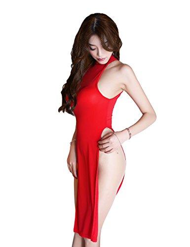 YUANMO Ropa Interior para Mujeres Cómoda Camisola Tentación Uniforme Sin Mangas Mini Cheongsam Ropa de Dormir