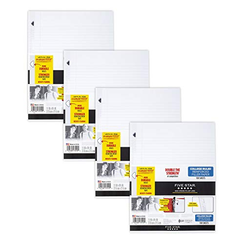 Five Star Loose Leaf Paper, 3 Hole Punched, Reinforced Filler Paper, College Ruled, 11 x 8-1/2 inches, 100 Sheets/Pack, 4 Pack (38032)
