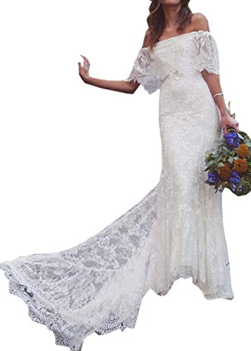 iluckin Boho Beach Women's Off-Shoulder Lace A-line Bridal Ball Gown Wedding Dress with Train Long for Bride White Ivory