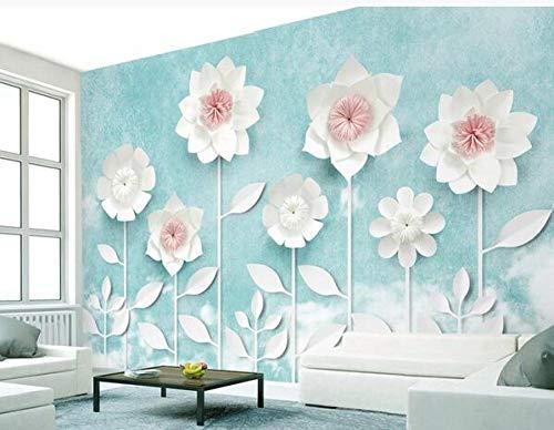 papel pintado Creativo azul claro 3d flor de origami tridimensional hermoso gran mural personalizado foto papel tapiz sala de estar sofá TV fondo decoración mural papel tapiz-350cmx256cm