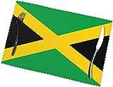 Juego de 6 manteles individuales con impresión de bandera de Jamaica, fáciles de limpiar, lavable, antiarrugas, material de poliéster resistente a altas temperaturas, (12 x 45,7 cm, 6)