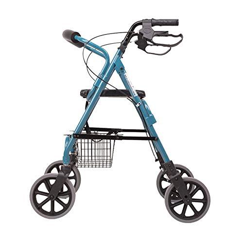 XINYUHANGHAOSANSAN Rollstuhl Von Hand Eindrückbarer Walker, Leichtgewichtiger, Zusammenklappbarer Allrad-Walker Aus Aluminium, Geeignet Für: Einkaufswagen Für Ältere Menschen, Lebensmitteleinkauf