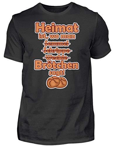 Heimat Brötchen Norddeutschland - Camiseta para hombre, diseño con texto en alemán Negro S
