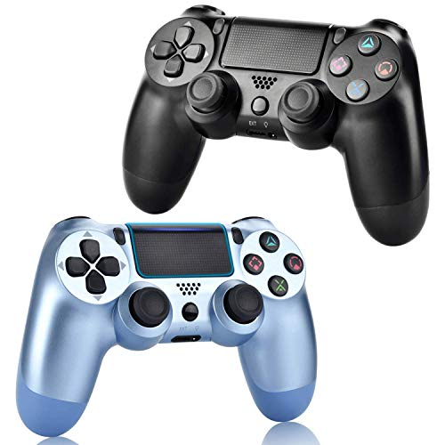 2 Pack Wireless Controllers for PS4, Wireless Remotes Control, YU33 Joystick Gamepad for Ps4 Controller with Double Shock and Charging Cables, (Titanium Blue and Jet Black)