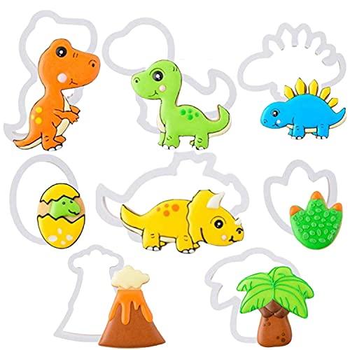 Crethink Juego de cortadores de galletas de dinosaurio, 8 piezas de cortadores de galletas de dinosaurio, estampados, cortador de galletas de plástico, decoración de tartas