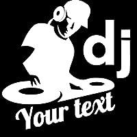 車のステッカーパーソナライズされた車の装飾DJの音楽テキストデカールとステッカーかわいいビニールのステッカー車のオートバイの装飾デカール (Color Name : White, Size : 18 x 18 cm)