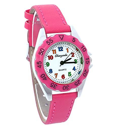 Relojes Lindo Reloj Unicornio para Niñas, Niños, Niñas, Niño, Reloj De Pulsera De Cuero, Relojes Casuales, Moda para Niños, Reloj De Tiempo para Aprender, Reloj para Niños, Digitalhotpink