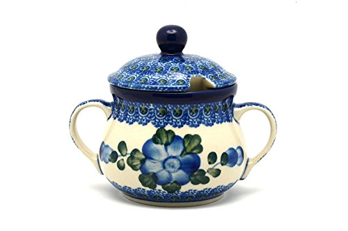 Polish Pottery Sugar Bowl - Blue Poppy