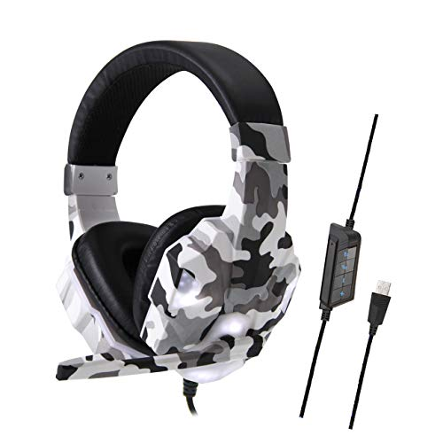 ANYIKE Head-mounted Gaming Headset, USB Wired Hoofdtelefoon met 35MM Driver, Surround Sound & Microfoon voor Laptop Mac Nintendo Switch Games USB Camouflage Grijs