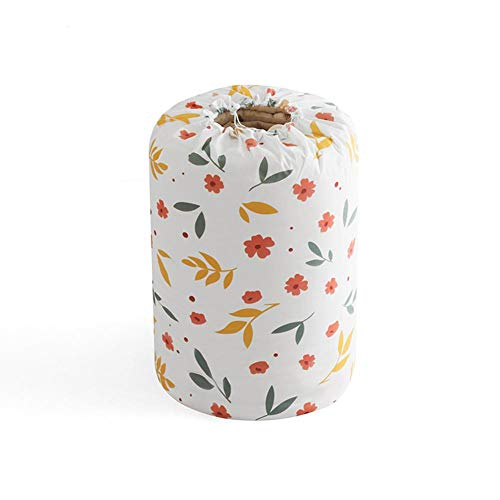 Honton Drawstring Storage Bags Laundry Bin Storage Basket Quilt Organizer Bag Floral Style Finishing Storage Pouch with Drawstring for Clothes Toys Towel Travel 70 * 32cm White 2