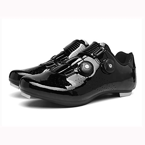 Nuevo 2021 Zapatillas de Ciclismo EVO Negro Brillante, para Carretera, con Suela de Carbono,Muy rigida y Ligera y Triple Tira de Velcro.Professional Cycling Shoes, Unisex, Quality assurance-42