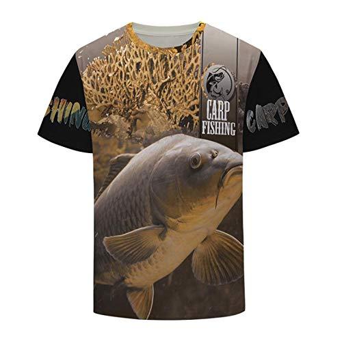 Camiseta,Arte Carpa Pesca Amarillo Caza Hombres Personalidad Unisex Moda Primavera Y Verano Cómodo 3D Manga Corta Top Color Mixing S