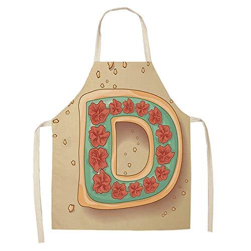 ZZXGWQ Schort 1 stuk brief patroon keukenschort mouwloos katoen linnen kinderschorten voor koken bakken BBQ reinigingsgereedschap 53 * 65 cm D